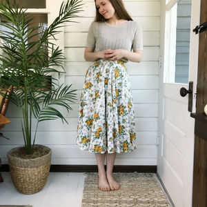 1950's Full Circle Checkered Floral Midi Skirt